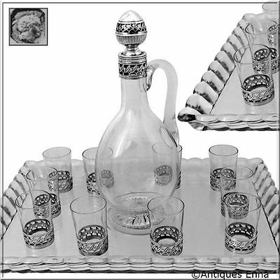 Christofle Rare French Sterling Silver & Baccarat Crystal Liquor Service