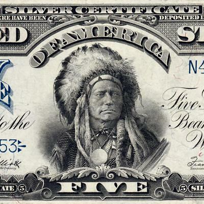 Awesome Chief! XF 1899 5 Dollar Note OnePapa Silver Certificate Fr 280 3351C