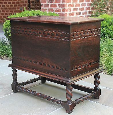 Antique English Oak Barley Twist Fireplace Hearth Coal Hod Chest Box Tin Liner