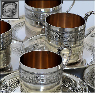 Rare French Sterling Silver 18k Gold Six Coffee/Tea Cups, Saucers Imperial Eagle