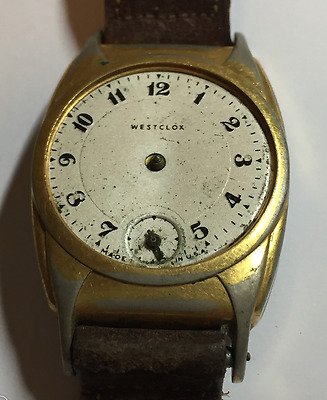Vintage Westclox Art Deco Men's Watch Parts/Repair Made In USA Dollar Wrist