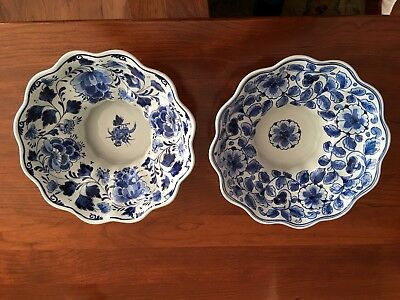 Pair of Vintage Delft Holland Pottery Signed Ruffled Footed Blue & White Bowls