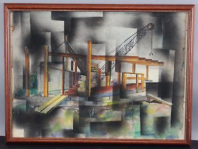 Vintage Mid-Century Cubist Industrial Construction Watercolor & Pastel Painting