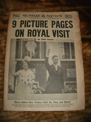 1939 NY Daily News-King & Queen Visit New York-Lou Gehrig Going to Mayo Clinic