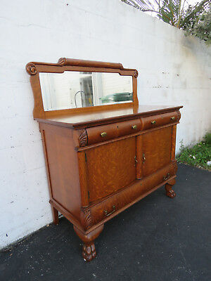 Early 1900s Solid Golden Oak Buffet Sideboard and Mirror 8776