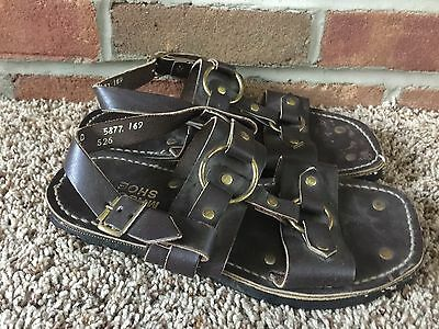 MASON SHOES men's 7D brown leather hippie sandals VTG 1970s Tire Tread heavy USA