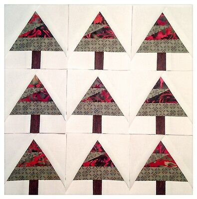 """Mini quilt blocks - 9 - 3 1/2"""" Scrappy Trees paper pieced kdawnquilts"""