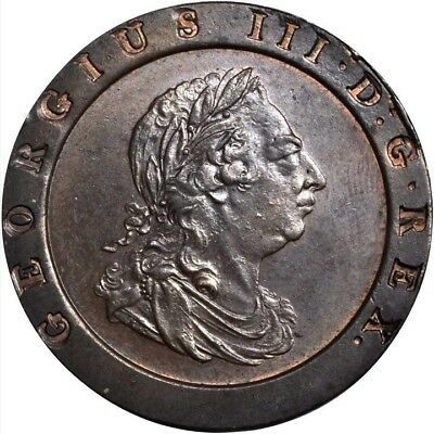 England George Iii 1797-Soho Two Pence Coin, Uncirculated, Certified Ngc Ms63-Bn