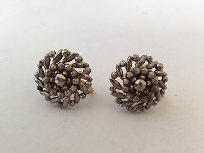 "Antique 1800's Georgian Victorian Cut Steel Screw Back Earrings, 3/4"" Diameter"