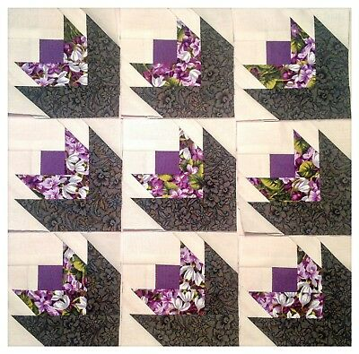 """Mini quilt blocks - 9 - 3 1/2"""" Scrappy Flowers 🌺paper pieced kdawnquilts"""