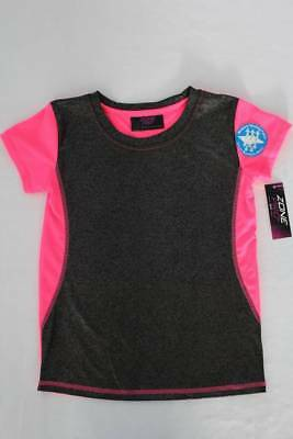 NEW Girls Top Size XS 4 - 5 Moisture Wicking Bright Pink Black Athletic Shirt