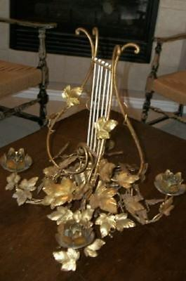 Hollywood Regency Italian Tole Gilt Lush Candelabra Lyre Harp French Paris Apt