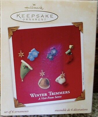 2003 Hallmark   Winter Trimmers  set of 6 Miniature Ornaments