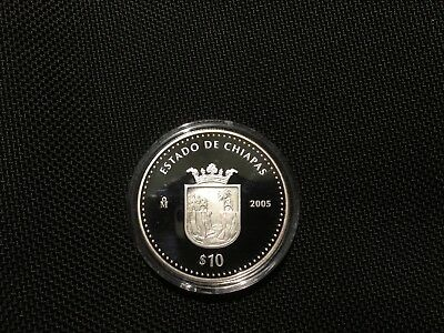 Mexico 2005 BU 1 Troy oz .999 Proof.Silver Onza $10 Pesos Estado Chiapas KM# 706