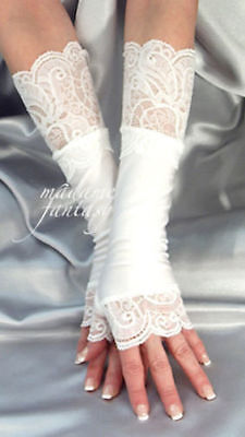 Long White Spandex Fingerless Gloves Lace Cuffs Arm Warmers
