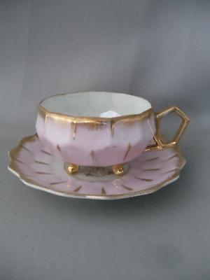Vtg Royal Sealy Lusterware China Porcelain Footed Pink & Gold Cup & Saucer Set