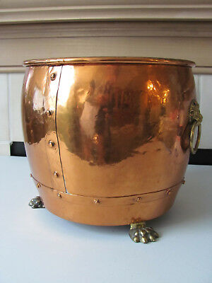 Vintage England Large Riveted Copper  Planter Pot Bucket Brass Lion Claw Feet