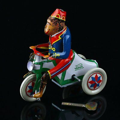 1Pc Vintage Retro Clockwork Tin Toys Monkey Riding a Car Wind Up Toy Collectible