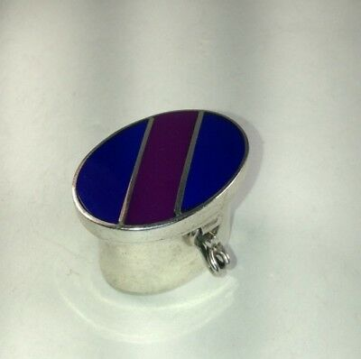 Vintage Sterling Silver & Genuine Lapis & Purple Turquoise Inlay Pill Box M76