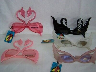 New Dr.peepers White Swan/pink Flamingo/feather Costume Party Sunglasses/glasses