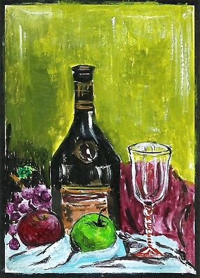 ACEO Original Painting Art Card Acrylic Wine Bottle,Glass,Apple100% Hand Painted