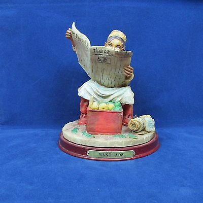 "Want Ads Figurine Man w/Newspaper Sitting on a box 6.75"" x 5.5"""