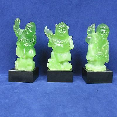 Faux Jade Oriental Chinese 3 God Statues Small resin Figures