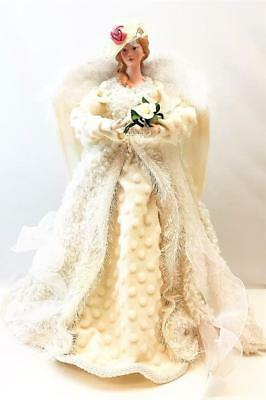 """Beautiful Large 18"""" Tall Victorian Angel w/ Feather Wings Tree Topper"""