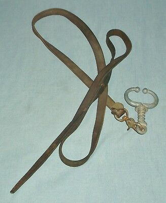 Stone Bull Cow Nose Ring Twitch Lead w/ Leather Strap Show Ranch Cattle Control