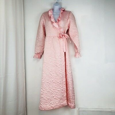 Womens Vtg 40s Quilted Robe Dressing Gown Hollywood Glam Rose sz S XS pink