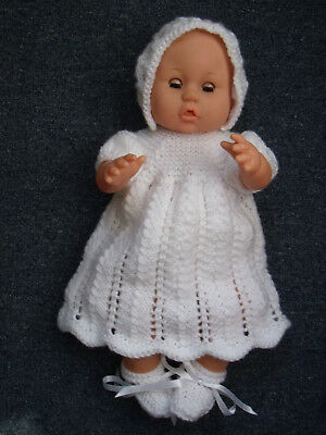 4 pce White Hand Knitted Dolls Clothes. 35-37cm 14-15in.