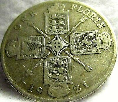 1921 Great Britain Silver Florin ~ Excellent Cond., KM# 817a