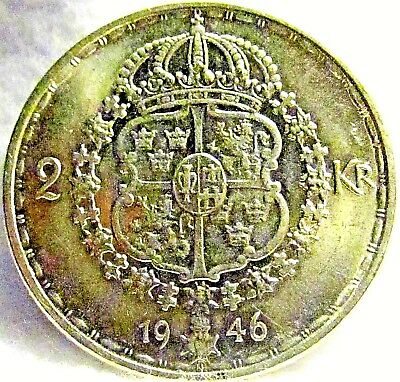 1946 Sweden Silver 2 Kronor ~ Condition! ~ Judge Pics for Yourself ~ KM# 815