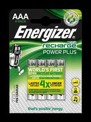 4 piles AAA Energizer rechargeables Power Plus HR03 700 mAh