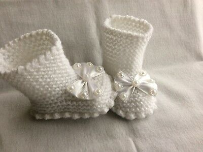 Hand knitted baby Girl booties / Shoes -0-3 months