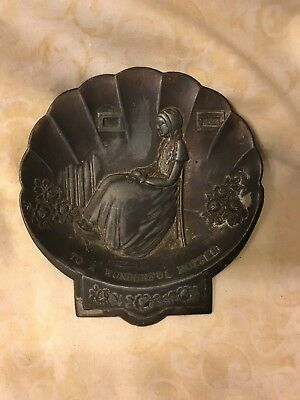 Antique Barker Greeting Card Company A Wonderful Mother Metal Vanity Tray Dish
