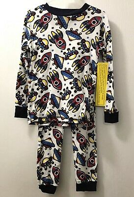 "Boys 2 Piece Long Sleeve ""Rockets & Spaceships"" Pajama Set ~Sizes 4 or  7"