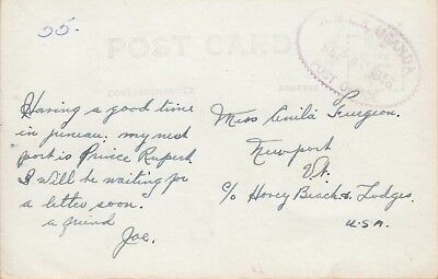 H.M.C.S UGANDA POST OFFICE ~ 1946 FANCY OVAL POSTMARK on PC ~ THE MUTINY SHIP