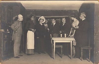 WWI PRISONER OF WAR POSTCARD ~ RPPC ~ PLAY AT A POW CAMP w/ MEN PLAYING WOMEN #2