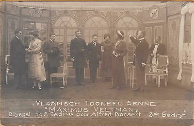WWI PRISONER OF WAR POSTCARD ~ RPPC ~ PLAY AT A POW CAMP w/ MEN PLAYING WOMEN #1