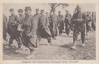 WWI PRISONER OF WAR POSTCARD ~ BELGIAN AND FRENCH POWs TRANSPORTED ON FOOT