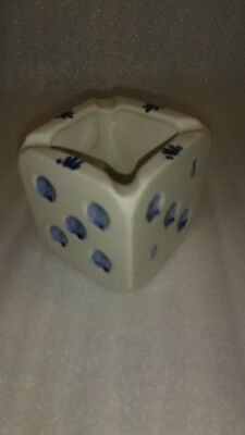 Antique Delf Blue Ashtray Cube Dice 1920's Holland Handpainted Artist Initialed