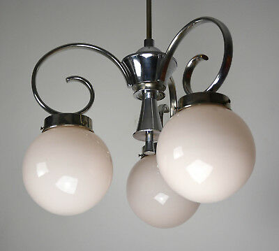 Bauhaus Art Deco Deckenlampe Nickel