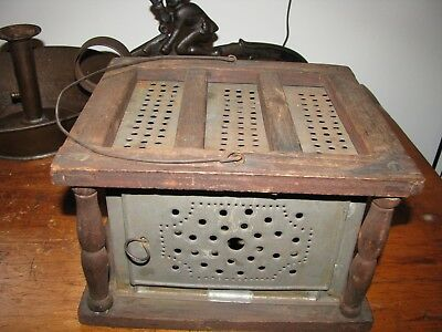 ANTIQUE  WOOD & PUNCHED TIN FOOT WARMER with WIRE BAIL HANDLE