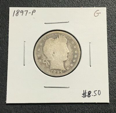 1897-P U.s. Barber Quarter ~ Good Condition! $2.95 Max Shipping! C626