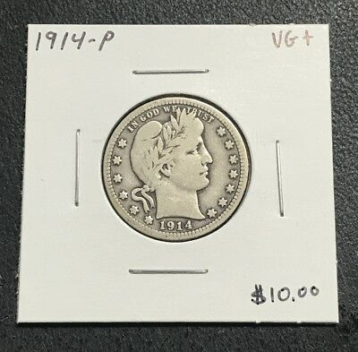 1914-P U.s. Barber Quarter ~ Very Good+ Condition! $2.95 Max Shipping! C629