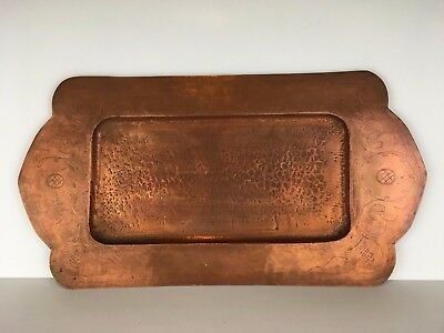 "19"" Antique Arts & Crafts Heavy Hand Hammered Copper Tray embossed design"