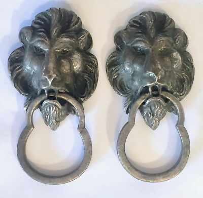 Pair Antique Vintage Cast Brass Figural Lion Drawer Pulls