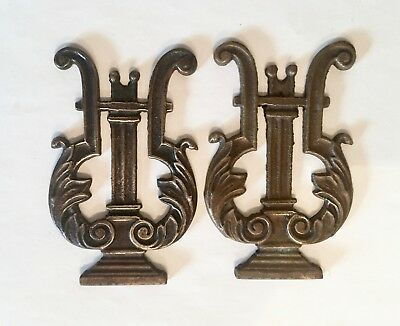 Pair Antique Cast Brass Musical Lyre Ornaments Wall Plaques