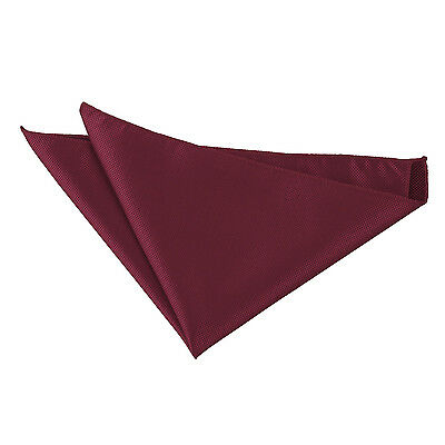 DQT Woven Plain Solid Check Burgundy Handkerchief Hanky Pocket Square